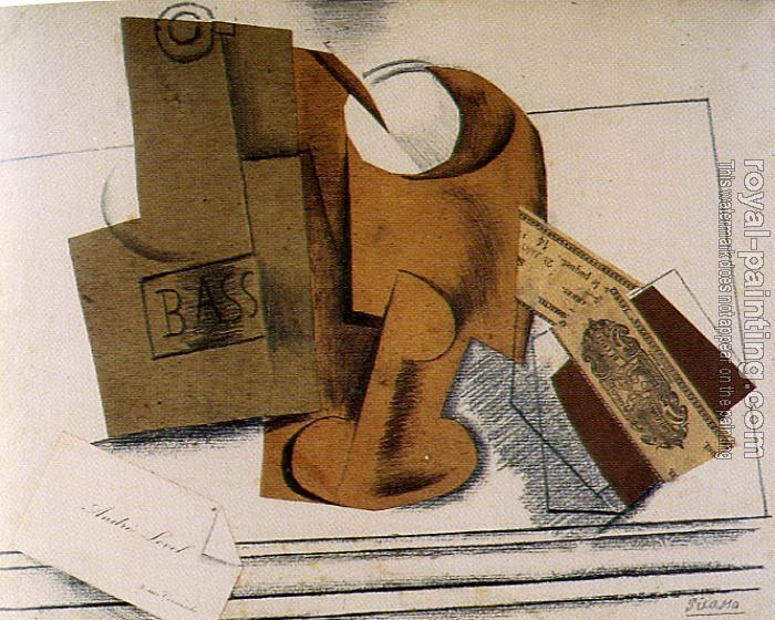 Pablo Picasso : bottle of bass and calling card